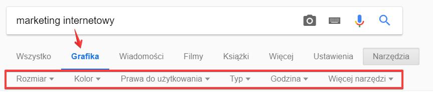 Filtrowanie wyników wyszukiwania w Google Grafika
