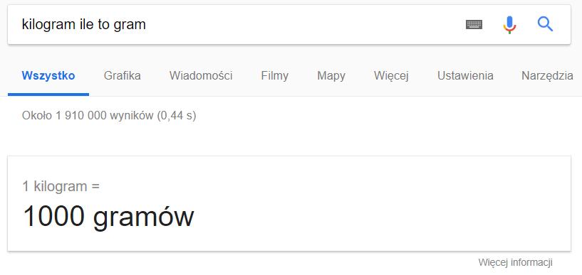 Zamiana jednostek w Google