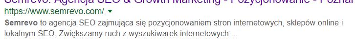 Opis strony internetowej w wynikach wyszukiwania