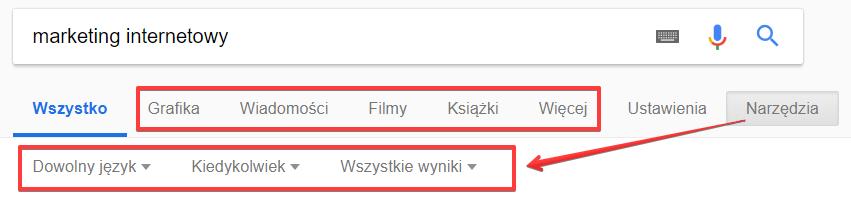 Filtrowanie wyników wyszukiwania