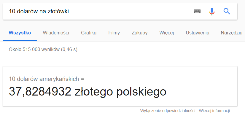 Wynik przeliczenia waluty w wyszukiwarce Google