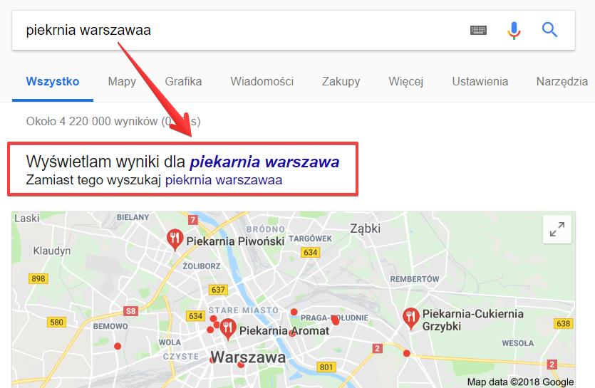 Poprawianie pisowni podczas wyszukiwania informacji