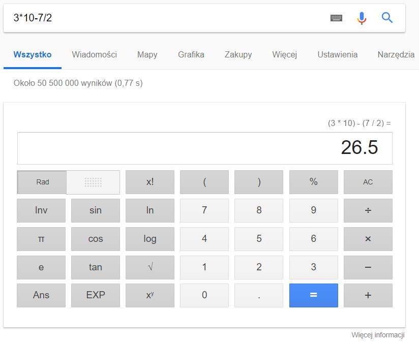 Wynik obliczeń w wyszukiwarce Google