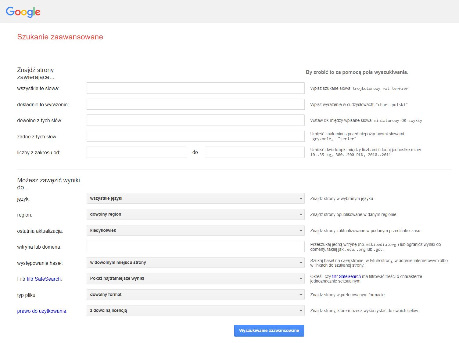 Zaawansowane wyszukiwanie stron internetowych w Google